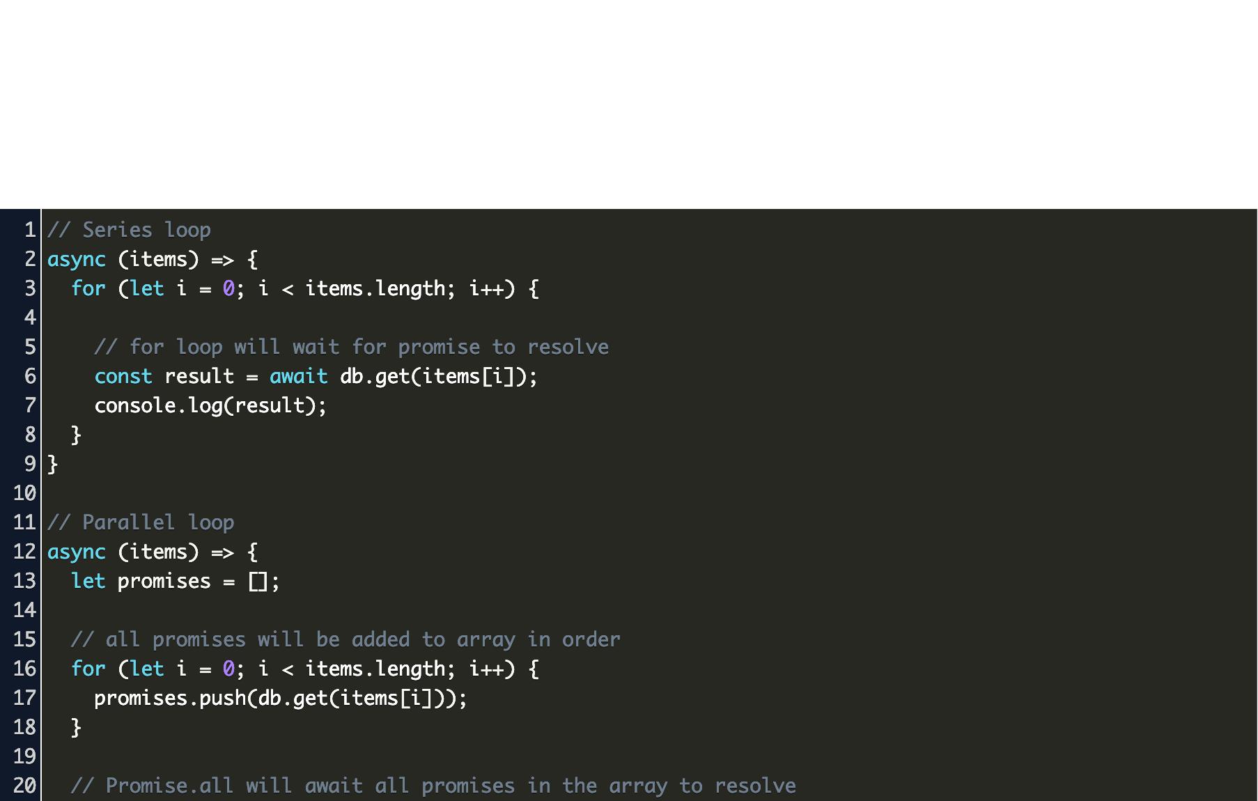async await in for loop javascript Code Example