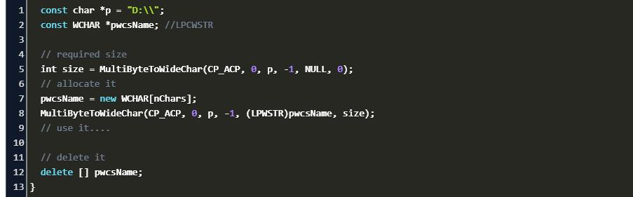 C Convert Const Char To Lpcwstr Code Example