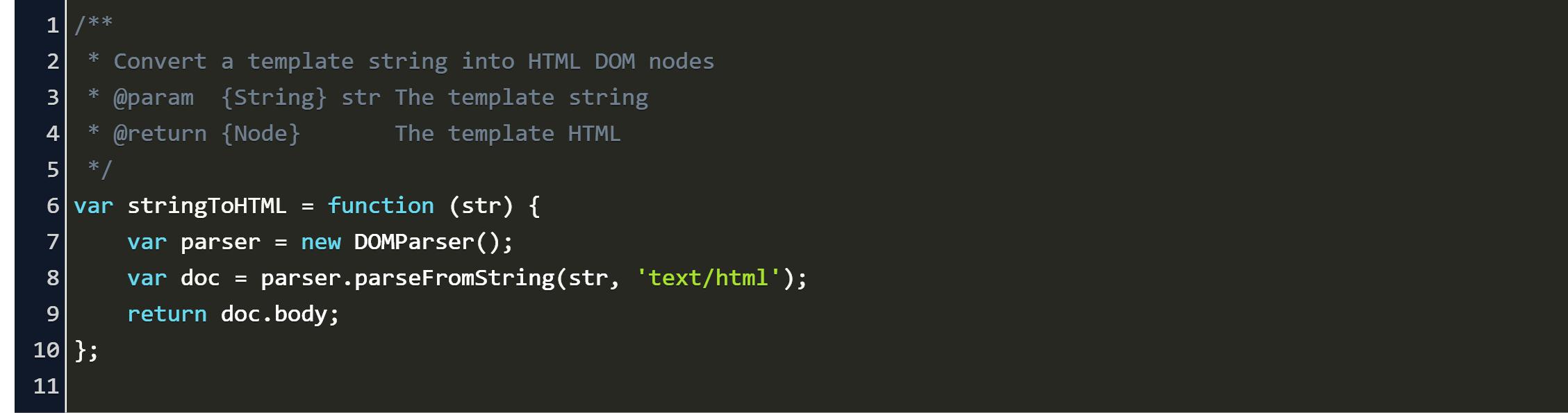 convert innerhtml to dom object Code Example