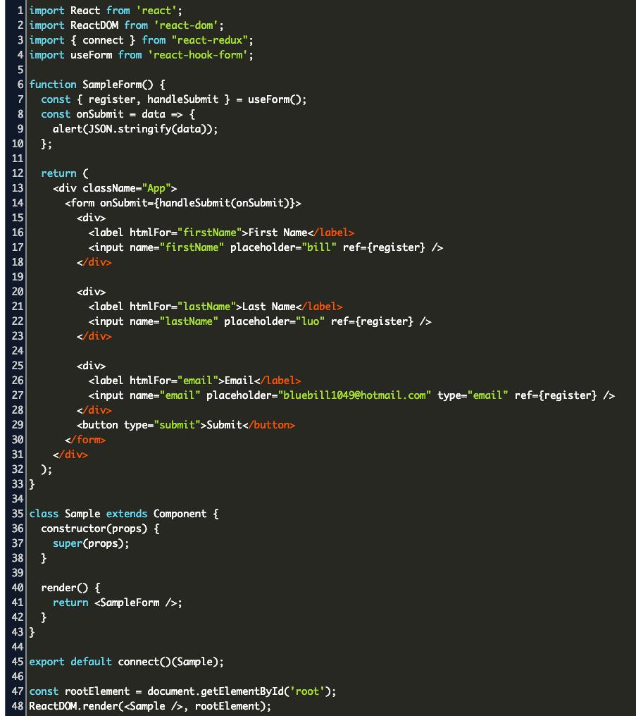 Handle Change React Hook Form Code Example