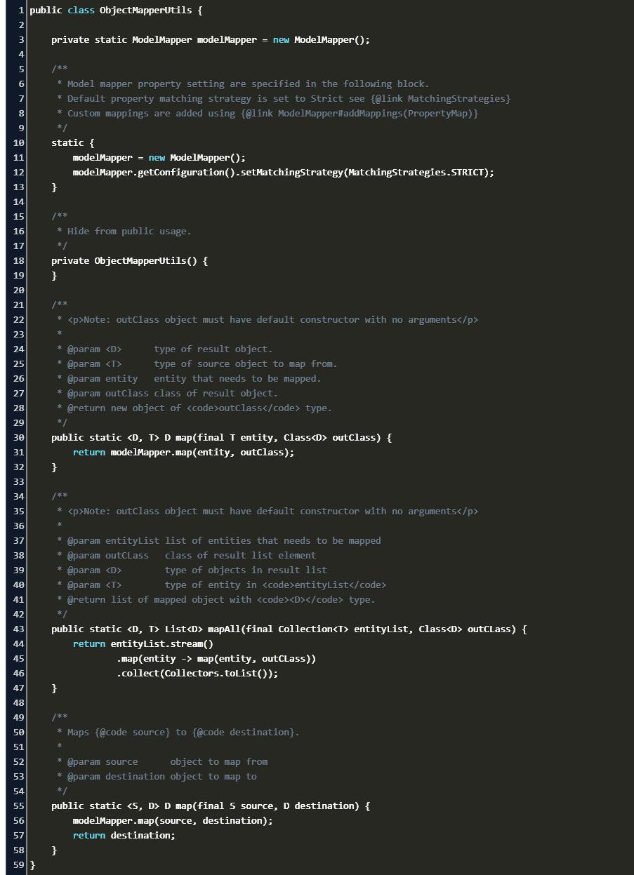 list of item in modelMapper Code Example