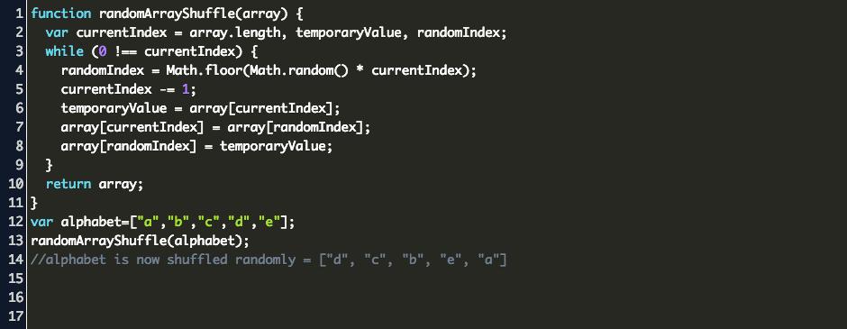 javascript randomly shuffle Code
