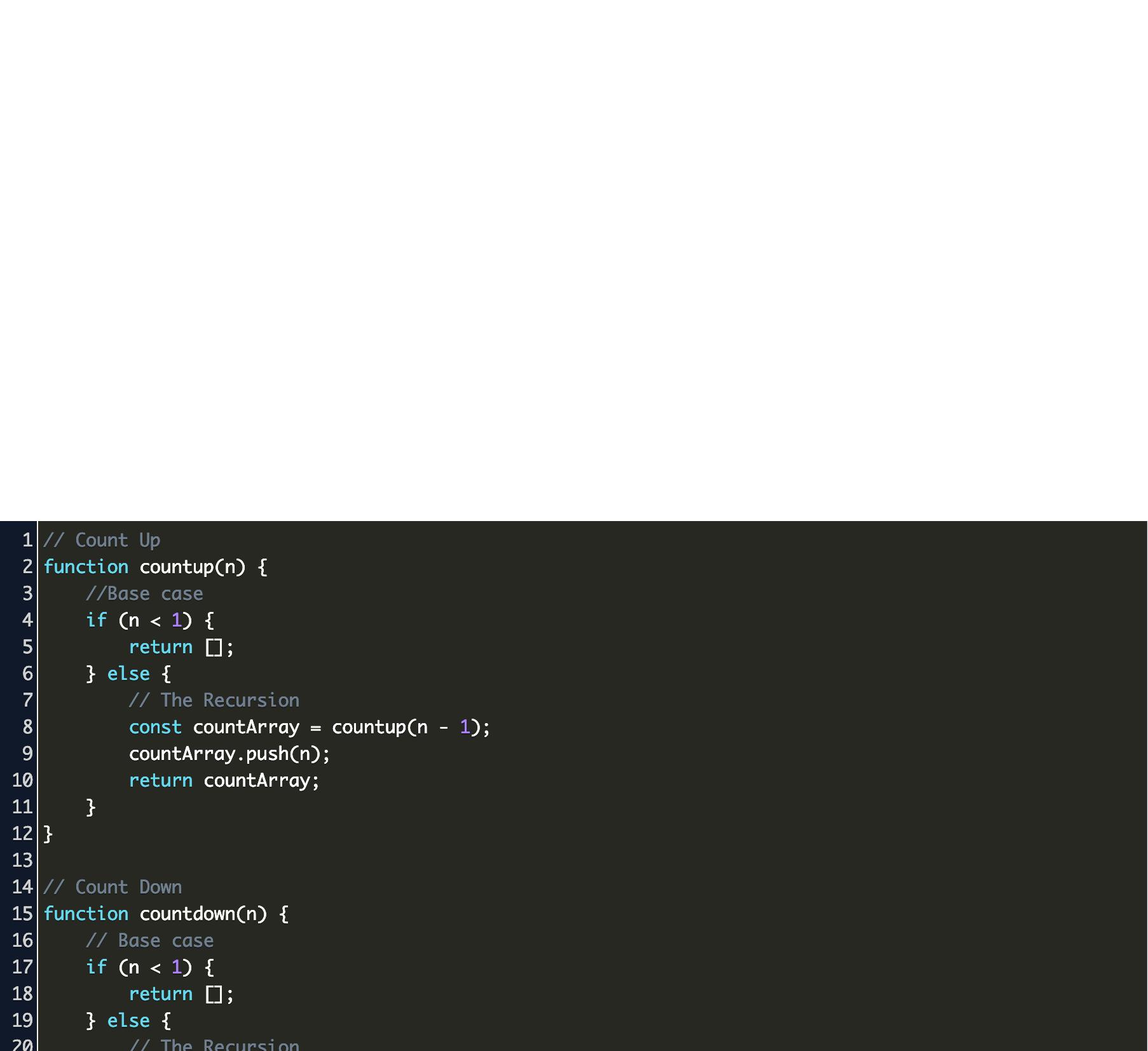 javascript recursion example Code Example