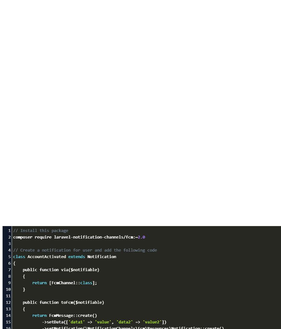 Laravel Firebase Cloud Messaging Notifications Code Example