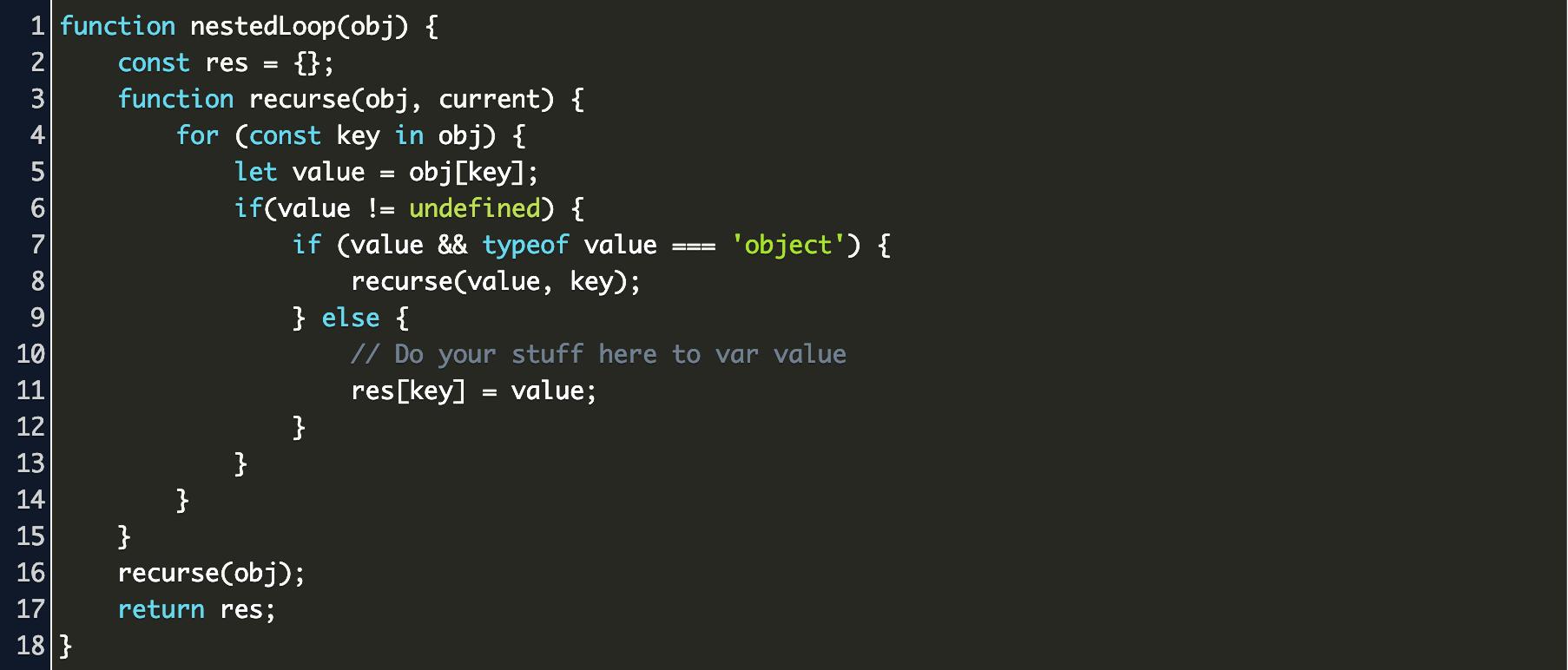 loop deep obnject js Code Example