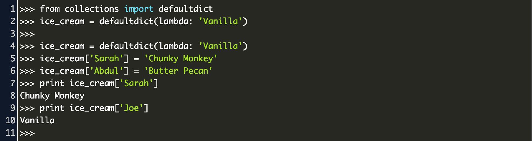 python defaultdict Code Example