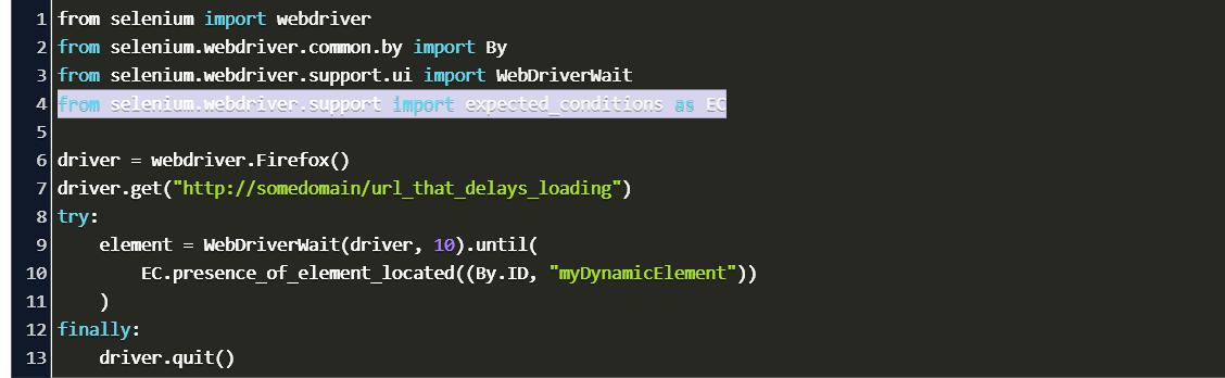 Python Selenium Webdriver Wait Until Element Present Code Example